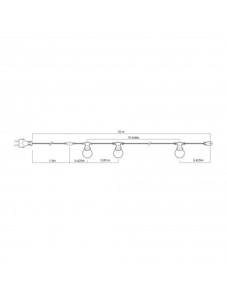 PARTY LIGHT: Guirlande IP44 prolongeable 10m, 10 douilles E27, blanc PS100W Guirlandes lumineuses Velamp