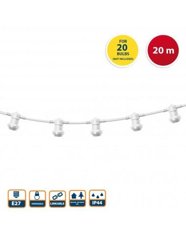 PARTY LIGHT: verlängerbare IP44-Girlande 20 m, 20 Sockel E27, H05RN-F2x1mm2, Weiß PS200W Ausziehbare Lichterkette Velamp