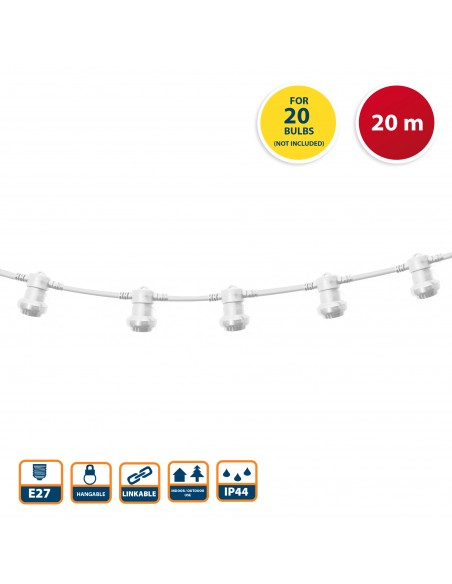 PARTY LIGHT: IP44 extendable light chain 20m, 20xE27 lamp holders, white PS200W Velamp Extendable light chain