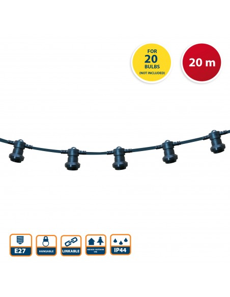 PARTY LIGHT: Catenaria IP44 prolungabile 20m, 20 attacchi E27, nero PS200B Catenarie luminose Velamp