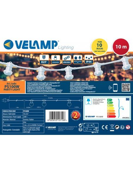 PARTY LIGHT: Catenaria IP44 prolungabile 10m, 10 attacchi E27, bianco PS100W Catenarie luminose Velamp