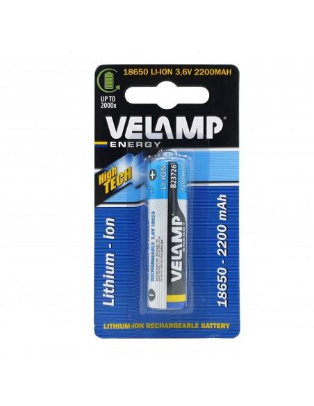 Batteria al litio ricaricabile 18650 3,7V 2200mAh B23716 Batterie litio Velamp