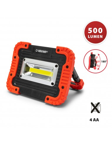 Battery operated COB LED work light. 500 lumens. Adjustable IS590 Velamp Rechargeable and battery operated worklights