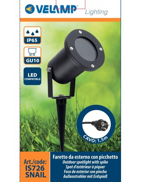 SNAIL: Garden spotlight with spike. IP65, GU10, 1,5m cable IS726 Velamp Ouotdoor spotlights for garden, terrace, stairs...