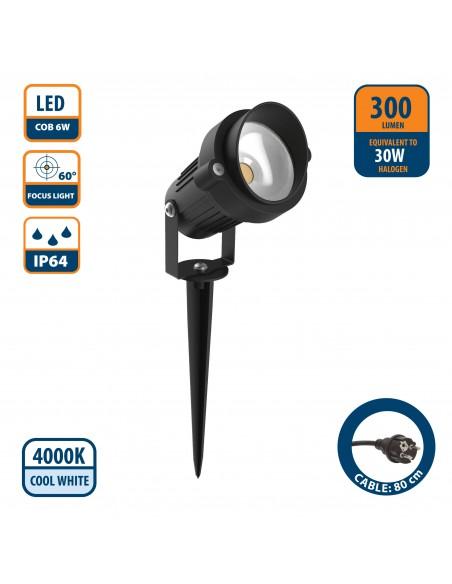 Faretto LED 6W da esterno IP64 con cavo e picchetto IS730 Spot da esterno e luci per il giardino Velamp