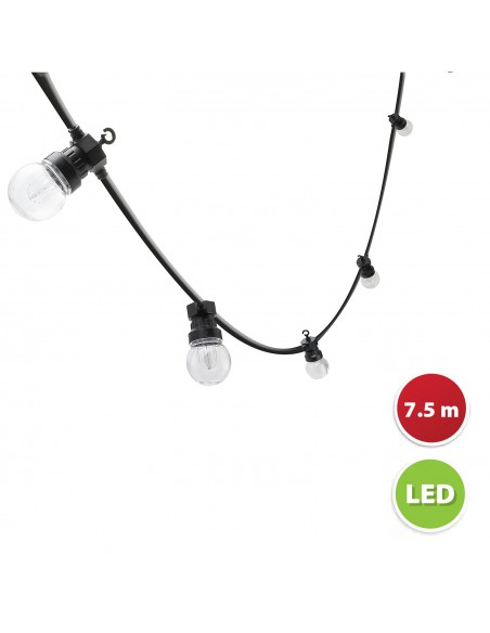 "IP44 extendable light chain, 7.5mt, 10 ""filament"" LED bulbs, black PS048 Velamp Extendable light chain"
