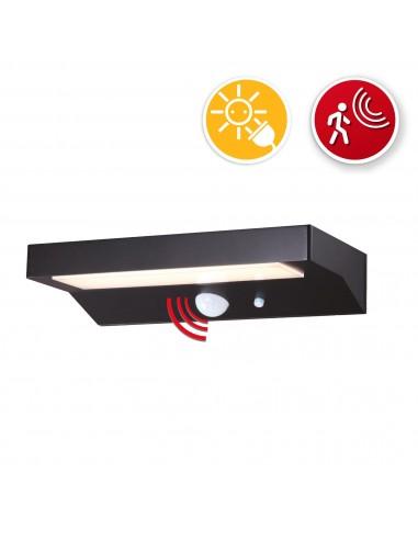 Aplique LED con carga solar 600 lúmenes, con detector de movimiento SL238 Velamp IIluminacion con carga solar