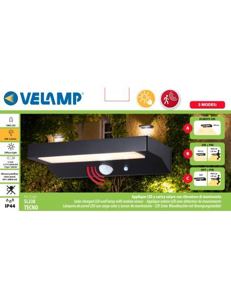 LED-Wandleuchte mit Solarladung 600 Lumen, mit Bewegungsmelder SL238 Solarbeleuchtung Velamp