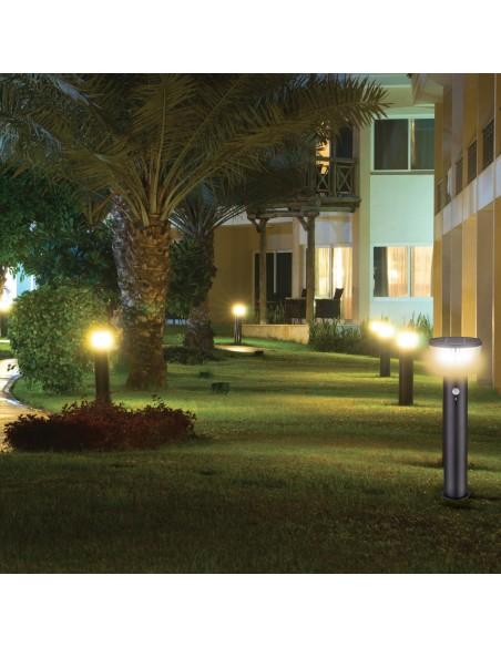 Borne solaire en acier 600 lumens, avec détecteur de mouvements SL344 Éclairage solaire Velamp
