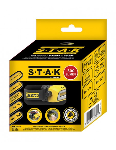 Professional rechargeable 300 lumen LED head lamp. Contactless ST207 Stak Heavy duty worklights