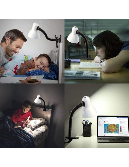 CHARLESTON CLIP: Lampe de bureau avec culot E27 et clip, blanc TL1203-B Lampes avec clip Velamp
