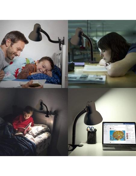 CHARLESTON CLIP: Lampe de bureau avec culot E27 et clip, noir TL1203-N Lampes avec clip Velamp