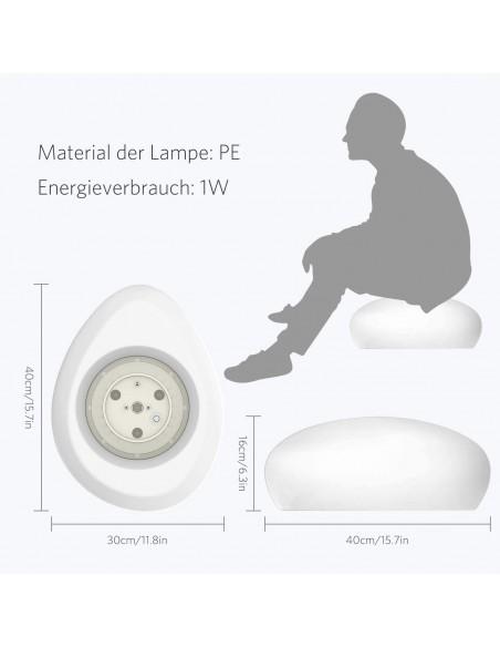 Sasso luminoso bianco + rgb a ricarica solare con telecomando SL561 Luci solari Velamp