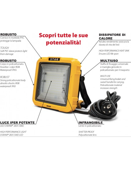 X-Blast 50W: LED floodlight with 3m cable and French plug. 4700lm STA50D-F Stak AC jobsite worklights