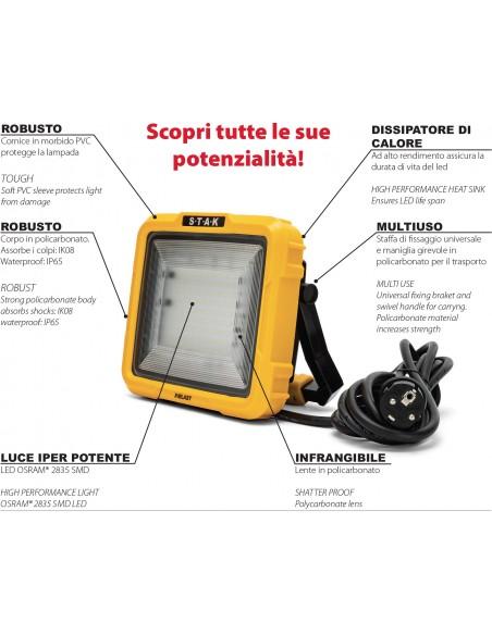 X-Blast 50W: projecteur LED avec câble de 3m et prise de service française. 4700lm STA50D-F Projecteurs de chantier filaires ...