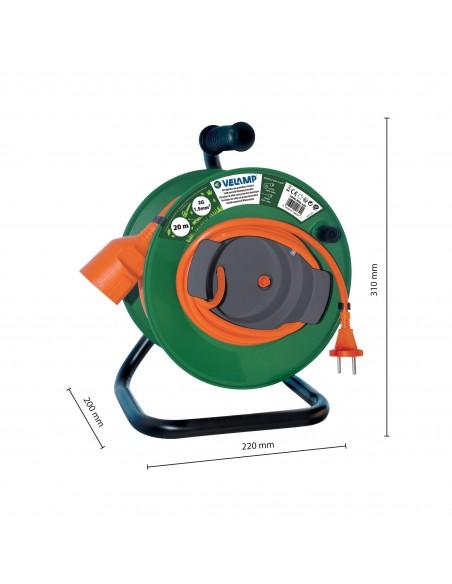 Carrete de cable de jardín 20 metros, 2G1.5 REEL-22G Velamp Carretes y extensiones eléctricas de jardín