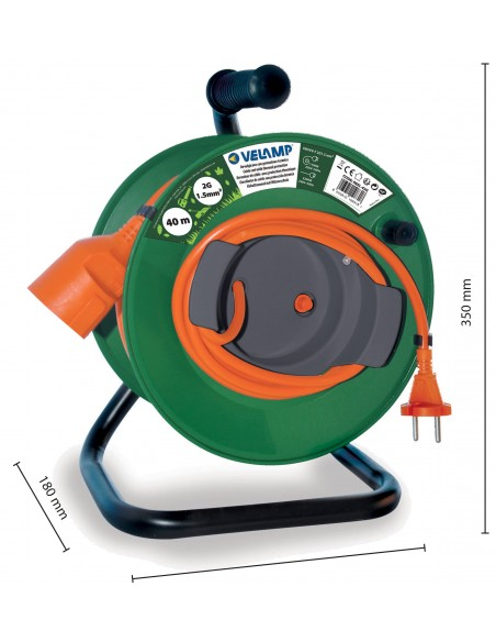Garden cable reel 40 meters 2G1.5 REEL-42G Velamp Garden electrical cable reels and extensions