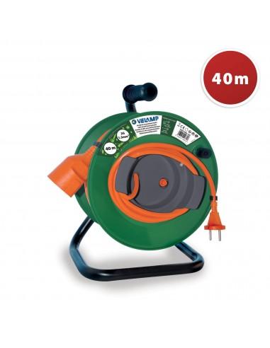 Enrollador de cable de jardín 40 metros 2G1.5 REEL-42G Velamp Carretes y extensiones eléctricas de jardín