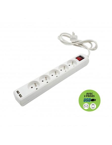 Französische Steckdosenleiste 5 Ausgänge 2P + T und 2 USB-Buchsen. 1,5 m Kabel MULTIP-FR-USB5 Mehrfachsteckdose Frankreich, B...