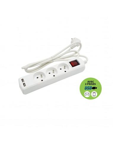Multiprise 3 sorties + 2 USB. Cable 1,5m MULTIP-FR-USB3 Multiprises France Belgique Pologne Velamp