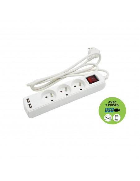Französische Steckdosenleiste 3 Ausgänge 2P + T und 2 USB-Buchsen. 1,5 m Kabel MULTIP-FR-USB3 Mehrfachsteckdose Frankreich, B...