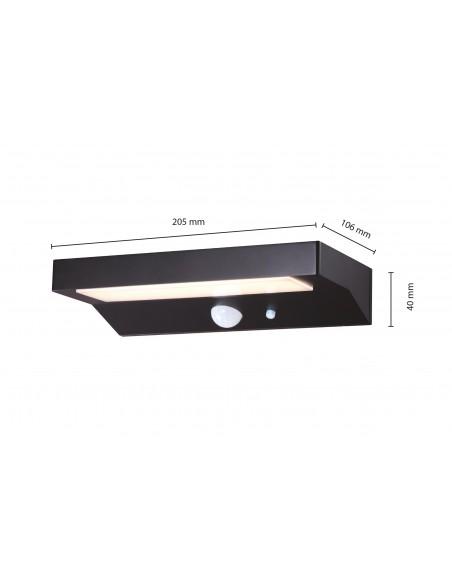 Applique murale LED à charge solaire 600 lumens, avec détecteur de mouvements SL238 Éclairage solaire Velamp