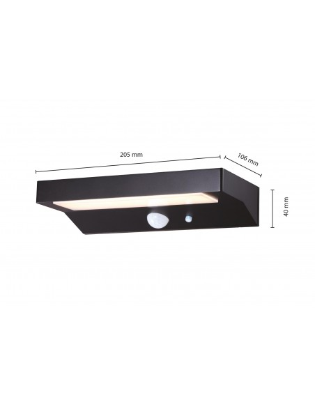 LED wall light with solar charge 600 lumens, with motion detector SL238 Velamp Solar lighting