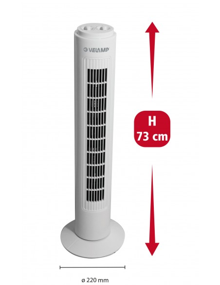 Ventilateur à colonne 73 cm, 3 vitesses, avec minuterie VENT-COLT4 Ventilateurs sur pied Velamp