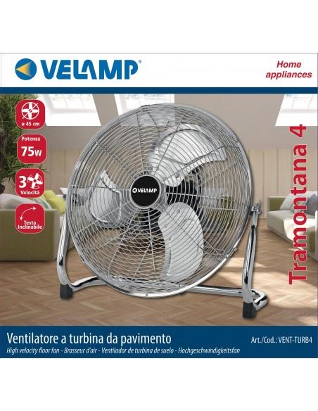 Ventilatore a turbina da pavimento 45cm. 3 velocità. Cromato VENT-TURB4 Ventilatori da tavolo Velamp