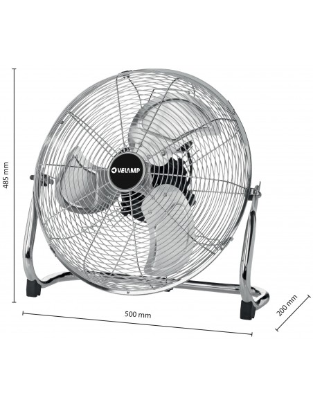 Ventilador de turbina de piso de 45cm. 3 velocidades. Cromado VENT-TURB4 Velamp Ventiladores de mesa