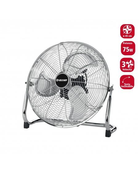 45cm floor turbine fan. 3 speeds. Chromed VENT-TURB4 Velamp Desk fans