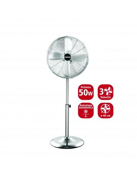 Ventilatore a piantana 40 cm, in metallo cromato. 3 velocità VENT-M40C4 Ventilatori a piantana Velamp