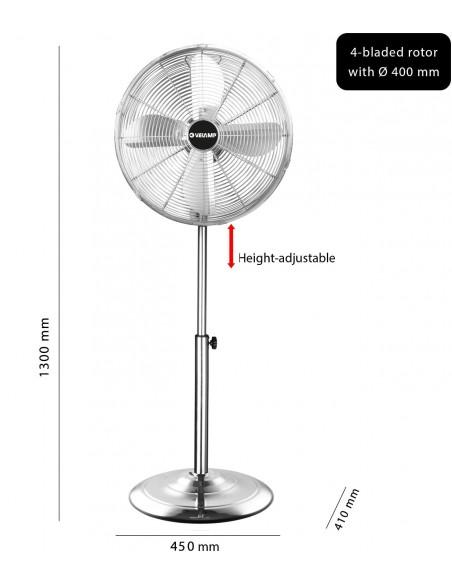 Ventilador de pie de 40 cm en metal cromado. 3 velocidades VENT-M40C4 Velamp Ventiladores de pie