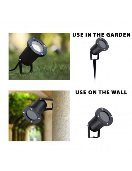 SNAIL: Spot de jardin avec piquet. Câble IP65, GU10, 1,5 m IS726 Spots extérieurs pour terrasses, escaliers, jardin... Velamp