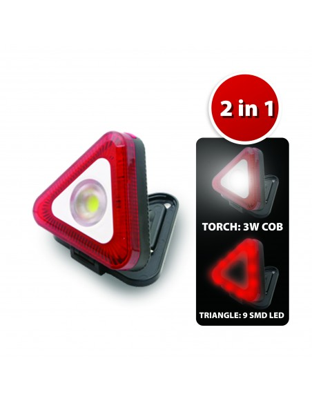 Triángulo de luz LED con linterna e imán. 3AAA no incluido IS419 Velamp Lámparas de taller recargables y con pilas.