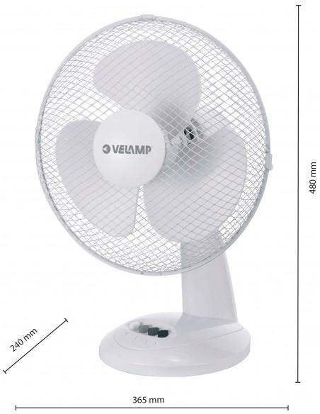 Ventilatore da tavolo 30 cm, in plastica. 3 velocità. Bianco VENT-P30T4 Ventilatori da tavolo Velamp
