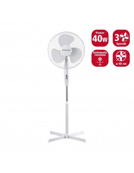 40 cm plastic stand fan, 3 speeds. White VENT-P40C4 Velamp Pedestal fans