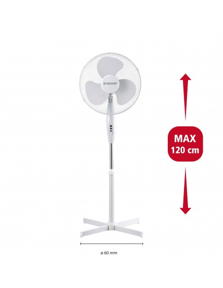 Ventilateur sur pied en plastique 40 cm, 3 vitesses. blanc VENT-P40C4 Ventilateurs sur pied Velamp