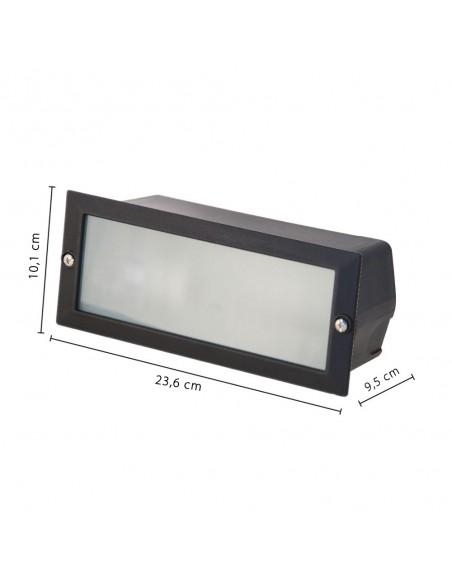 BRICK: Luz empotrable de pared, casquillo E27 - Color aluminio IS720 Velamp Apliques ovalados
