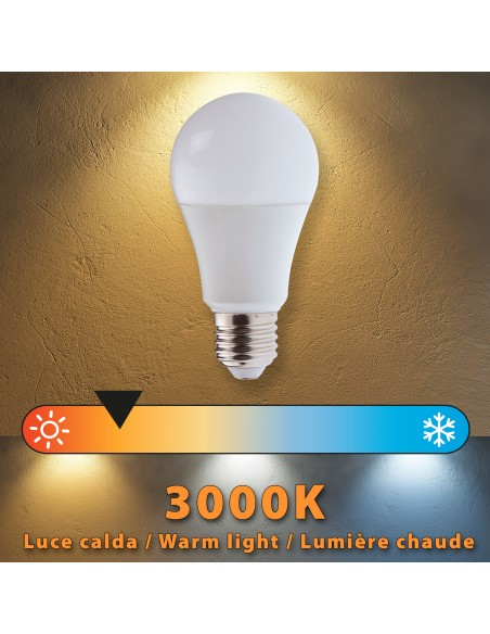 Lampadina SMD LED, Goccia A60, 12W/1055lm, base E27, 3000K LB212S-30K Da classificare Velamp