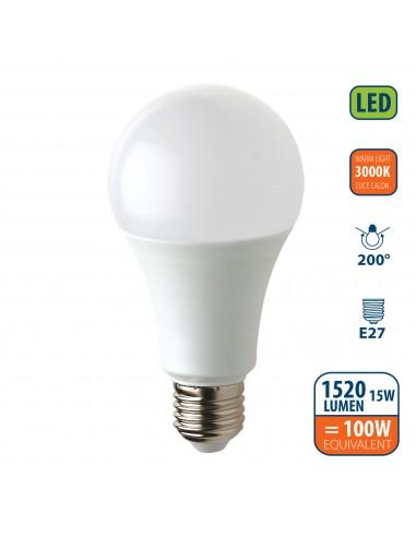 Lampadina SMD LED, Goccia A60, 15W/1520lm, base E27, 3000K LB215S-30K Da classificare Velamp