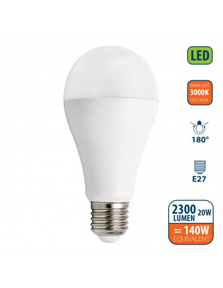 SMD LED Bulb, Drop A65, 20W / 2300lm, E27 base, 3000K LB220S-30K Velamp Da classificare