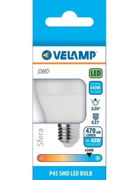 Bombilla LED SMD, esfera P45, 6W / 470lm, base E27, 6500K LB4067S-65K Velamp Da classificare