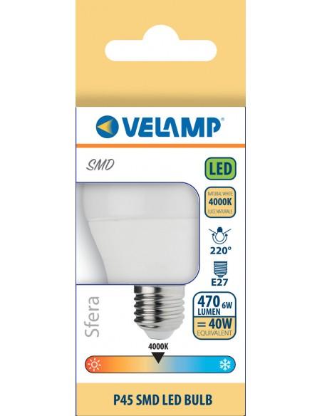 Bombilla LED SMD, esfera P45, 6W / 470lm, base E27, 4000K LB4067S-40K Velamp Da classificare