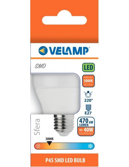 Ampoule LED SMD, Mini-sphérique P45, 6W / 470lm, culot E27, 3000K LB4067S-30K Da classificare Velamp