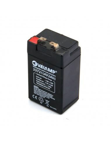 Batteria ricaricabile al piombo 4V 2Ah. Attacchi FASTON 23721 Batterie ricaricabili al piombo 4v Velamp