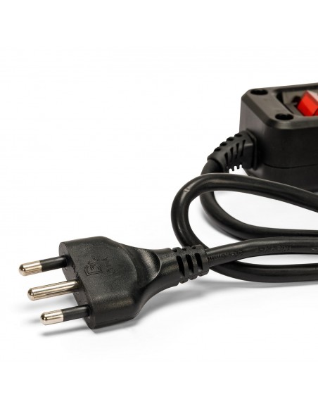 4-way multipurpose power strip schuko + 10 / 16a with 1m cable switch and 16a plug MULTIT-I-S40K Velamp Italy multisockets