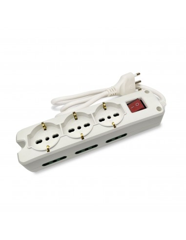 Italian power strip 9 inputs, 1.5 m cable and illuminated switch MULTIT-I-S36 Velamp Italy multisockets