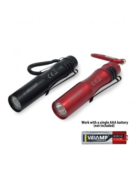 LED flashlight with clip and aluminum key ring IN239 Velamp LED flashlights