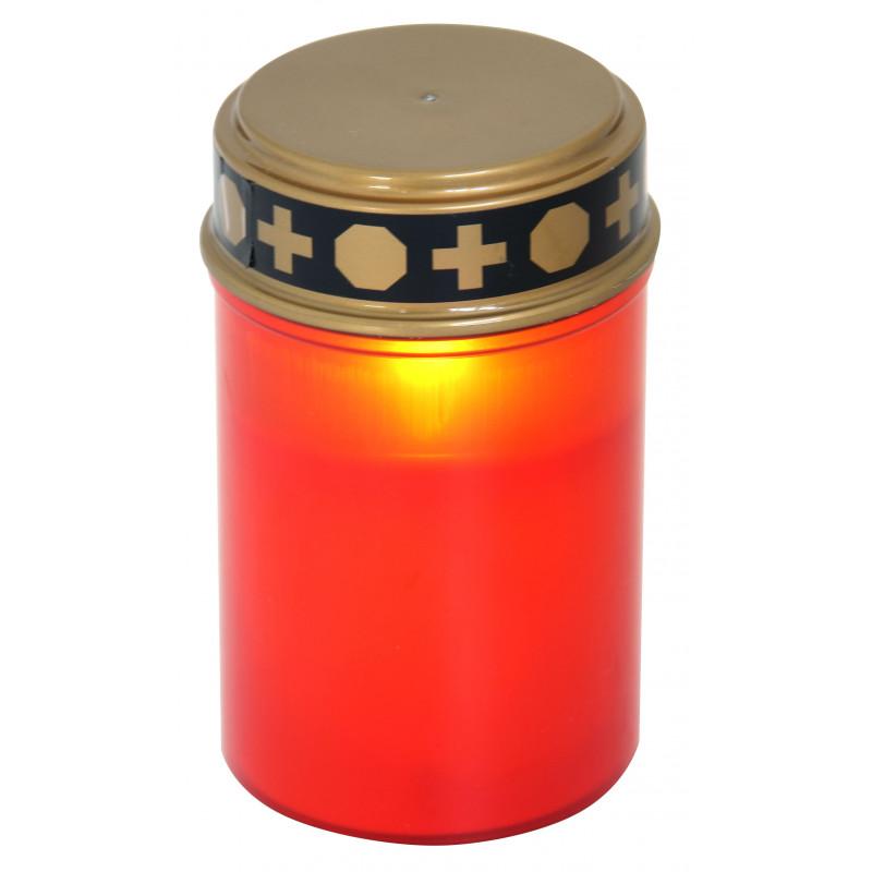 Lumino votivo riutilizzabile a batterie 2aa incluse rosso